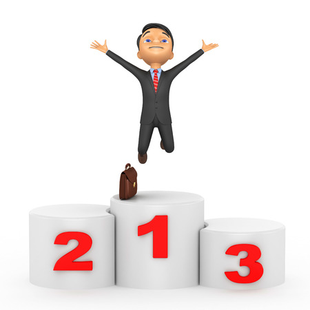 3d happy businessman took the first place Stock Photo