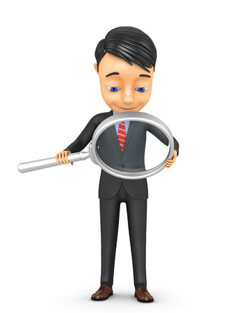 3d businessman with a magnifying glass on a white background