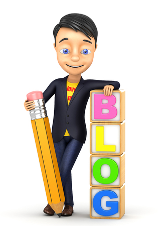 3d cheerful  human with a pencil Stock Photo
