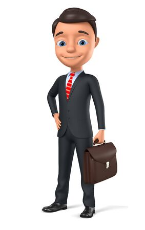 Businessman with briefcase on white background. 3d render illustration.