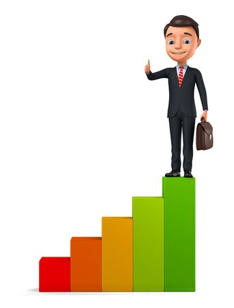 Businessman showing thumb up while climbing stairs on white background. 3d render illustration.