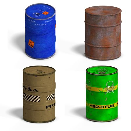 Collection of four barrels with Clipping over white photo