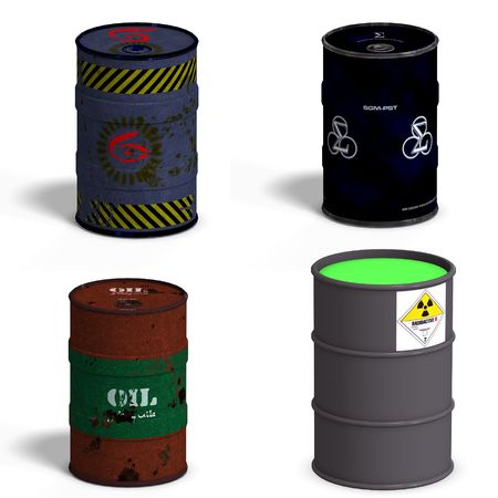 Collection of four barrels with Clipping over white Stock Photo - 5006520