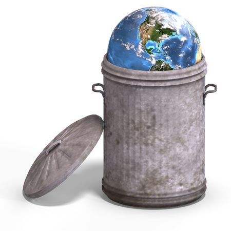 abatement: planet earth in a bin with Clipping Stock Photo
