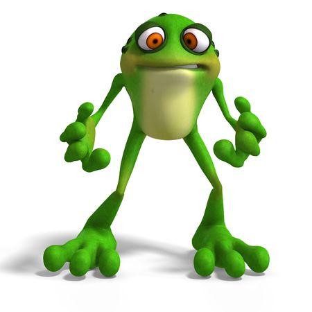caricaturas de ranas: Rana de dibujos animados con funny Face contiene recorte