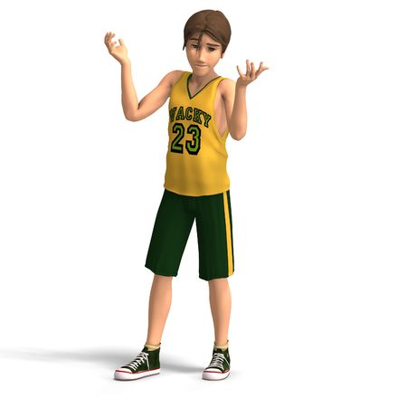 young manga character in basketball clothes With Clipping photo