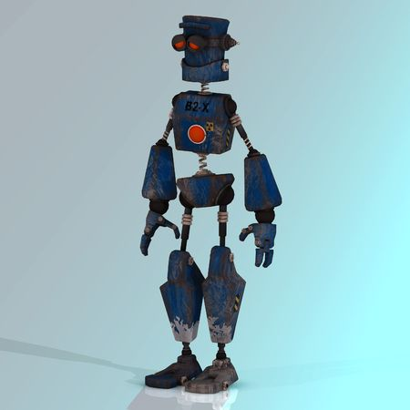 Futuristic cartoon roboter making funny moves Image contains a Clipping