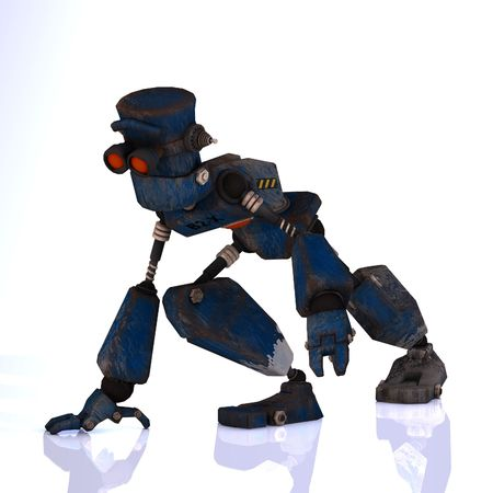 Futuristic cartoon roboter making funny moves Image contains a Clipping Stock Photo - 5006402