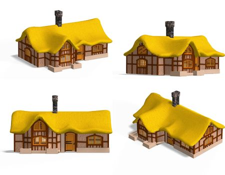 council: Four Views of an old fashioned house over white