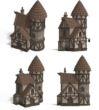 mediaeval: Four Views of an old fashioned house over white