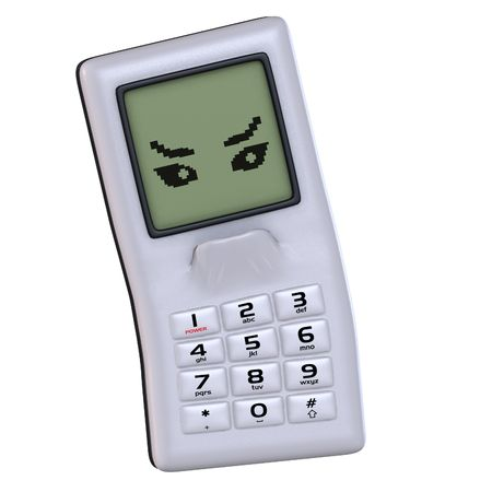 A multicolored cell phone with arms and legs Image contains a Clipping Stock Photo