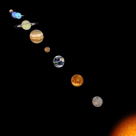 schematical image of the solar system. With Clipping