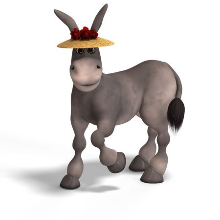blockhead: sweet cartoon donkey with pretty face over white and clipping