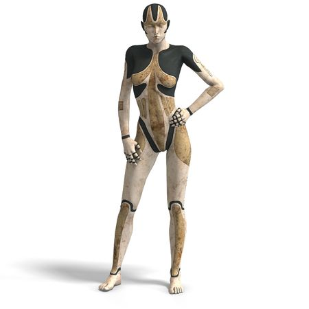 Sexy female android or robot With Clipping photo