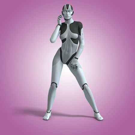 alien robot: Sexy female android or robot With Clipping