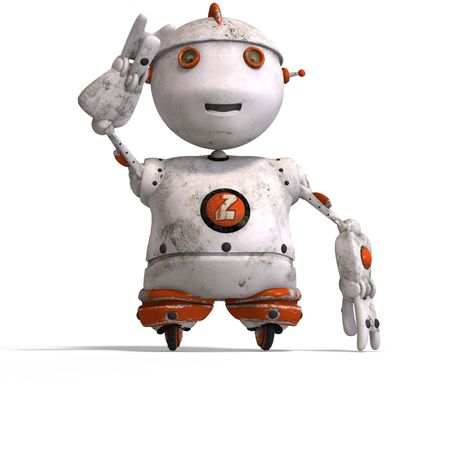 funny roboter with a lovely face and Clipping Stock Photo - 5006491