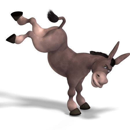 mule: sweet cartoon donkey with pretty face over white and clipping