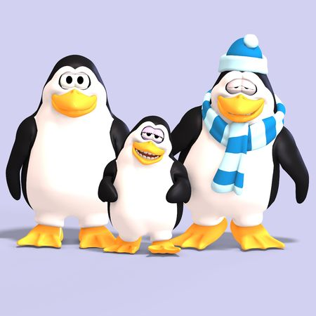 bonnet illustration: cute penguin family with father mother child and Clipping Stock Photo