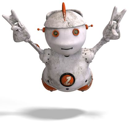funny roboter with a lovely face and Clipping Stock Photo