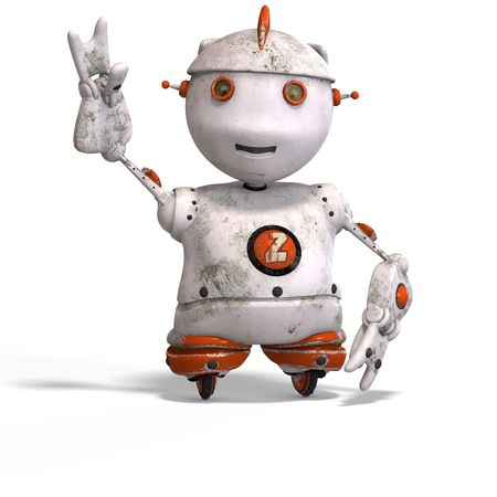 funny roboter with a lovely face and Clipping Stock Photo - 5006713