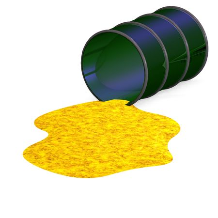 barrel which tumbled down with Clipping over white Stock Photo - 5006740