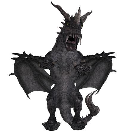 harridan: Representaci�n 3D de un enorme drag�n Fantasy con trazado de recorte