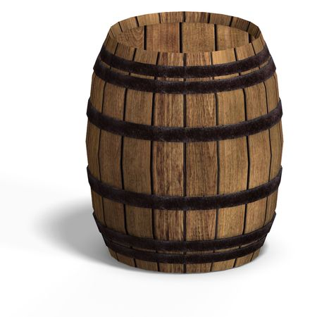 barel: rendering of a wooden barel With Clipping over white Stock Photo