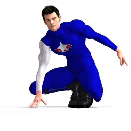 braver: Mighty blue Super hero with Clipping Stock Photo