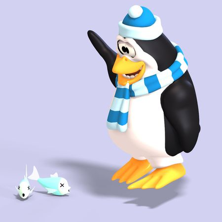 male toon enguin with hat and scraf and clipping