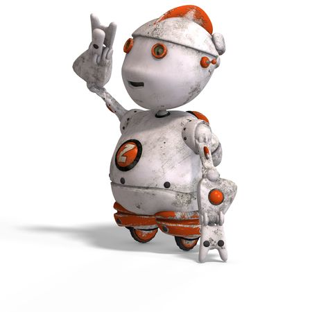roboter: funny roboter with a lovely face and Clipping Stock Photo