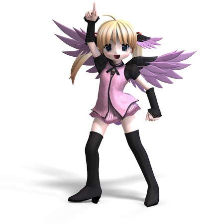 fay: sweet fantasy angel with wings anf pigtail. With Clipping Stock Photo
