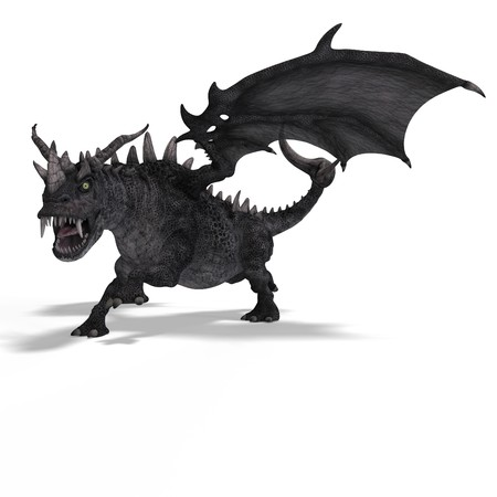 walking away: 3D Rendering of a huge Fantasy Dragon with Clipping