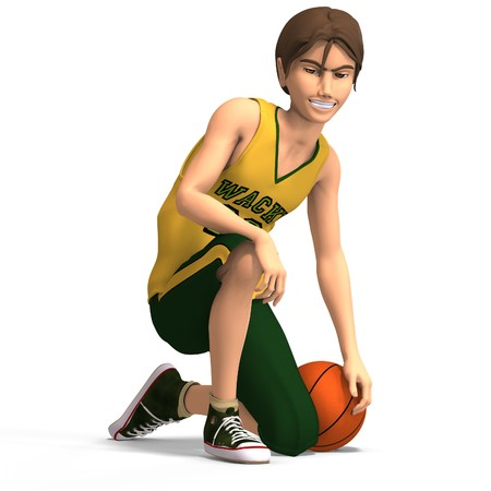 young manga character in basketball clothes With Path photo