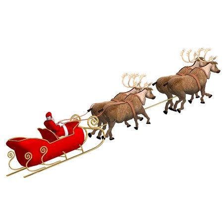 santas sleigh: Render of Santa Claus - Merry Xmas.  Stock Photo