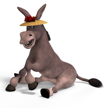 sweet cartoon donkey with pretty face over white and clipping photo