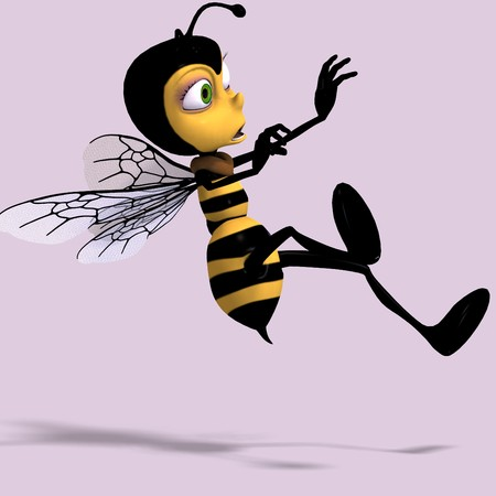 very sweet render of a honey bee in yellow and black with Clipping
