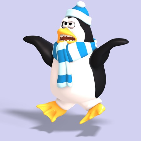 saltation: male toon enguin with hat and scraf and clipping