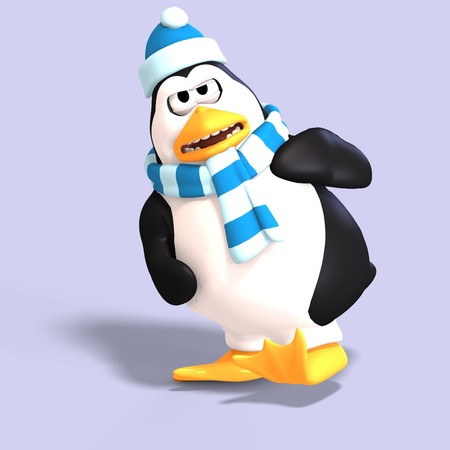 irked: male toon enguin with hat and scraf and clipping