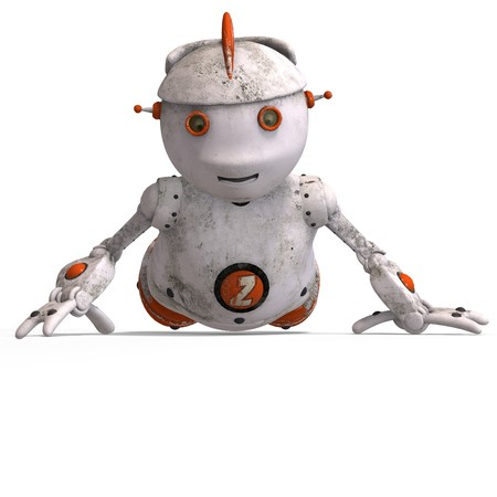 automat: funny roboter with a lovely face and Clipping Stock Photo