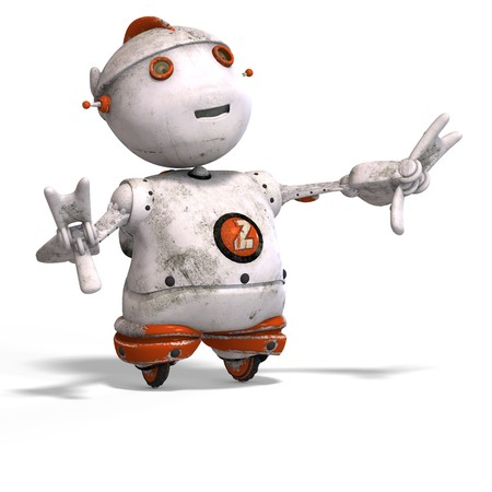 funny roboter with a lovely face and Clipping Stock Photo - 5006816
