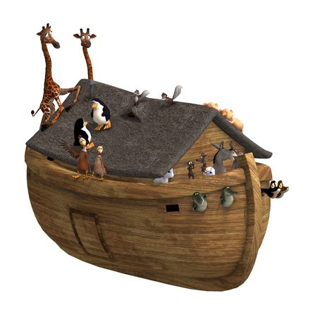 ark: Noahs Ark with a handful of animals. With Clipping