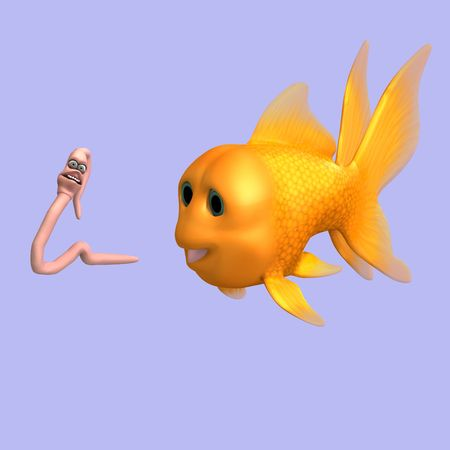 plushy: funny toon worm and fish with Clipping