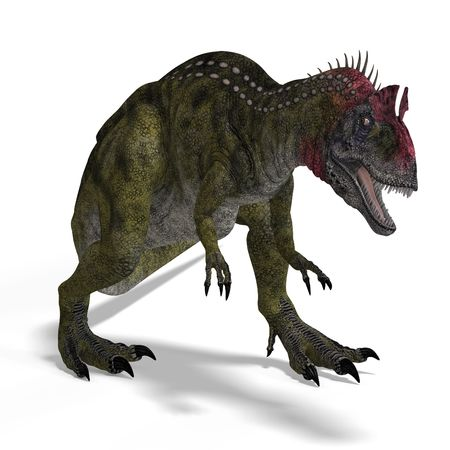 assail: frightening dinosaur cryolophosaurus With Clipping over white