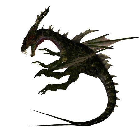daemon: Giant fantasy dragon with great wings. With Clipping Stock Photo