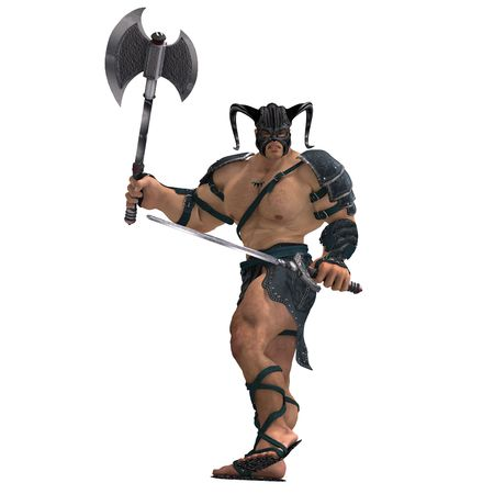 vigorousness: Muscular Barbarian Fight with Sword and Axe. With Clipping Stock Photo