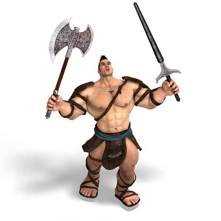 Muscular Barbarian Fight with Sword and Axe. With Clipping Stock Photo
