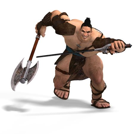 assail: Muscular Barbarian Fight with Sword and Axe. With Clipping Stock Photo