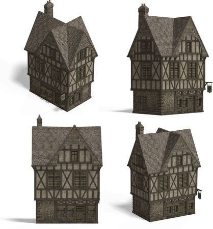 boozer: Four Views of an old fashioned house over white