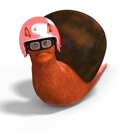 looser: funny snail with shell and Clipping over white