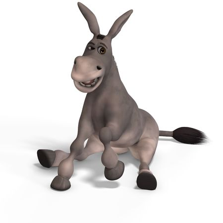jackass: sweet cartoon donkey with pretty face over white and clipping